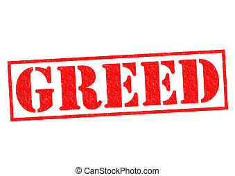 GREED red Rubber Stamp over a white background.