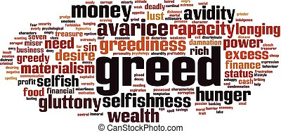 Greed word cloud concept. Vector illustration