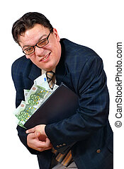 Greedy business man. - Greedy salesman holding on to his...