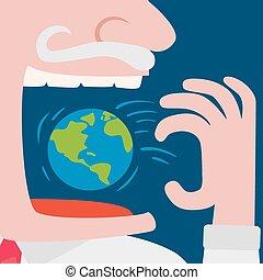Greedy businessman eating the world planet
