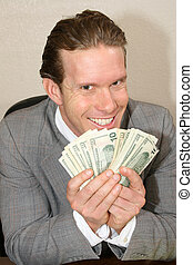 Greedy businessman with stack of money.