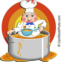 Greedy Chef - Greedy chef bathing in a giant pan of soup.