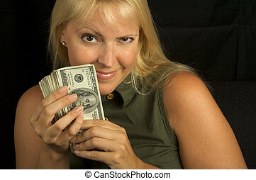 Greedy Girl - Attractive Woman Excited About her Stack of...