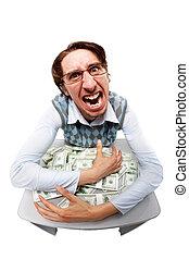 Greedy man  - Portrait of a greedy man hiding his money