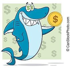 Greedy Shark Holding A Dollar Coin