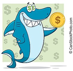 Greedy Shark Holding A Dollar Coin
