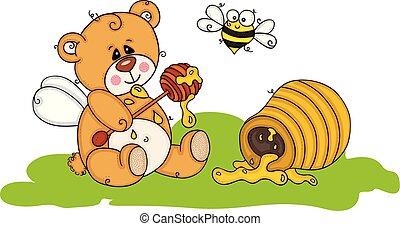 Greedy teddy bear eating honey