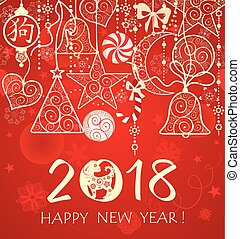 Greeeting red card with vintage golden seamless decoration for 2018 Chinese New Year