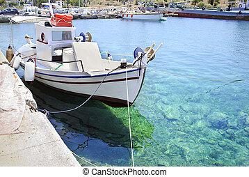 greek Aegean sea with fishing boats