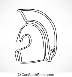 Greek, ancient helmet icon isolated