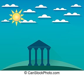 Greek and Roman architecture. The monument of architecture with columns in a landscape with clouds and sun. Sight. Vector illustration.
