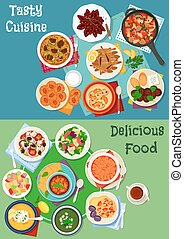 Greek and russian cuisine icon set for menu design - Greek...