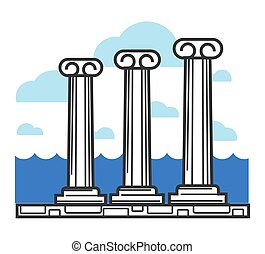 Greek antique columns Cyprus travel landmark symbol and vector tourist sightseeing