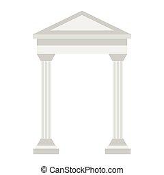 Greek arch icon, flat style