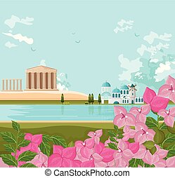 Greek architecture landscape Vector backgrounds