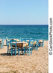 Greek beach with terrace
