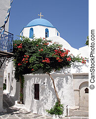 Greek blue and white church - Traditional blue domed Greek...