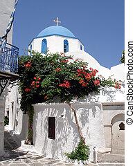 Traditional blue domed Greek church, Paros, Greek Islands