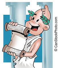 Greek boy reading a parchment