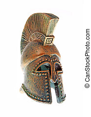 Greek bronze helmet. - Greek bronze helmet isolated on a...