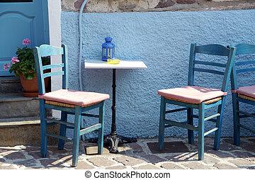 greek chairs in taverna