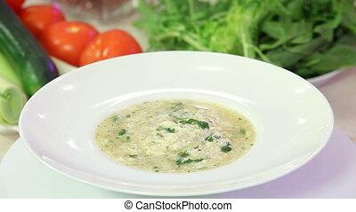 Greek chicken soup in a bowl