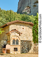 Greek church and monastery in the cliff in Meteora near ...