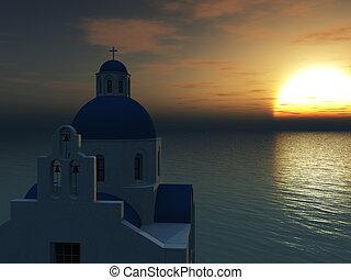 Greek church at sunset.