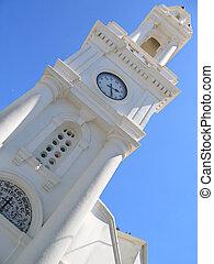 Greek church belfry on the background of sky