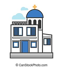 Greek church in white and blue colors with gold cross - ...