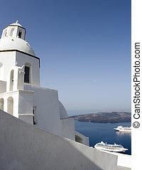 greek church overlooking harbor
