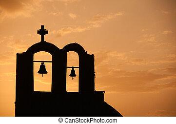 Greek Church - Greek church in santorini greece with a cross