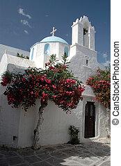 greek church - a greek church with a beautiful dome and a...