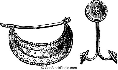 Greek clip and earring, belonging to the Campana collection of the Louvre Museum. From Fine Arts Book, vintage engraving, 1880.