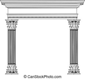 Fully vectorized and highly detailed Greek columns and arch.