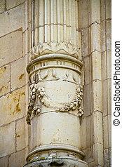 Greek Column, facade of the University of Alcala de Henares, Madrid, Spain