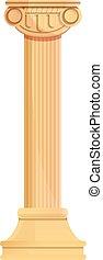 Greek column icon, cartoon style