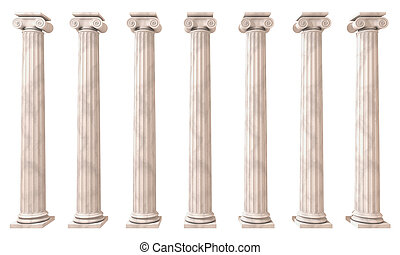 Greek columns isolated 3D