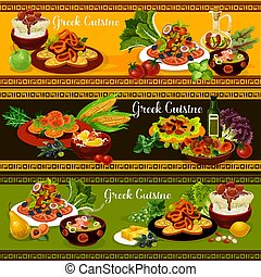 Greek cuisine banners with vegetable and fish dish