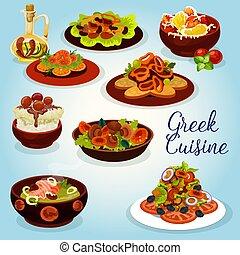 Greek cuisine icon with mediterranean lunch dish