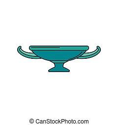 Greek cup icon, cartoon style