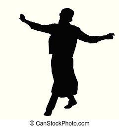 Greek dancer silhouette perform the syrtaki