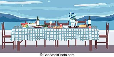 Greek dinner flat color vector illustration