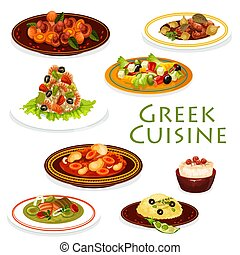 Greek dishes with meat, vegetables and seafood