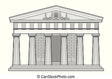 Greek Doric temple - Typical Greek temple with architectural...