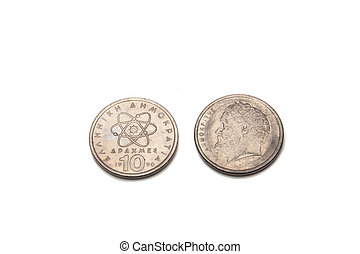 greek drachma coins isolated on a white background