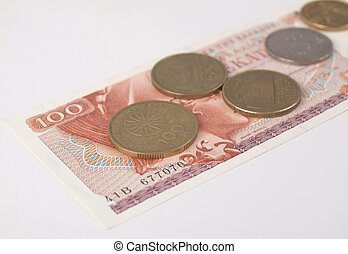 Greek drachmas banknotes and coins
