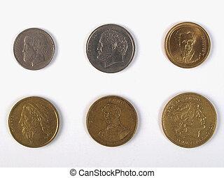 Greek drachmas coins