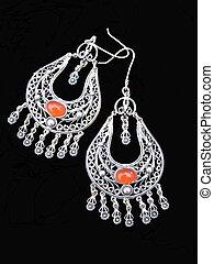 Old Greek handmade silver earrings with amber stones