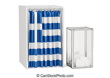 Greek election concept, ballot box and voting booths with flag of Greece, 3D rendering